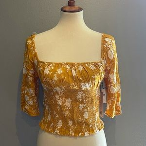 BP Gold Yellow Floral Square Neck Smocked Crop Top